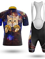 cheap -Men's Short Sleeve Cycling Jersey with Bib Shorts Winter Summer Spandex Dark Blue Cat Animal Bike Quick Dry Breathable Sports Cat Mountain Bike MTB Road Bike Cycling Clothing Apparel / Stretchy
