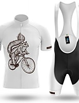cheap -Men's Short Sleeve Cycling Jersey with Bib Shorts Winter Summer Spandex White Animal Bike Quick Dry Breathable Sports Animal Mountain Bike MTB Road Bike Cycling Clothing Apparel / Stretchy / Athletic