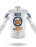 cheap -21Grams Men's Long Sleeve Cycling Jersey Spandex Polyester White Gear Bike Jersey Top Mountain Bike MTB Road Bike Cycling Quick Dry Moisture Wicking Breathable Sports Clothing Apparel / Athleisure