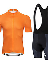cheap -Men's Short Sleeve Cycling Jersey with Bib Shorts Summer Spandex Orange Solid Color Bike Quick Dry Sports Solid Color Mountain Bike MTB Road Bike Cycling Clothing Apparel / Stretchy / Athletic
