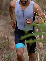 cheap -Women's Men's Sleeveless Triathlon Tri Suit Summer Grey Polka Dot Bike Quick Dry Breathable Sports Polka Dot Mountain Bike MTB Road Bike Cycling Clothing Apparel / Stretchy / Athletic
