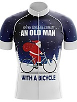 cheap -21Grams Men's Short Sleeve Cycling Jersey Summer Spandex Polyester Dark Navy Santa Claus Bike Jersey Top Mountain Bike MTB Road Bike Cycling Quick Dry Moisture Wicking Breathable Sports Clothing