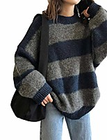cheap -y2k women's knitted sweater striped harajuku retro oversized loose pullover blue