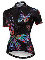 cheap -21Grams Women's Short Sleeve Cycling Jersey Summer Spandex Polyester Black Butterfly Bike Jersey Top Mountain Bike MTB Road Bike Cycling Quick Dry Moisture Wicking Breathable Sports Clothing Apparel