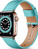 cheap -Smart watch band compatible with apple watch strap 40mm 38mm  grain genuine leather strap with stainless steel clasp compatible for apple watch se series 6 se 5 4 3 2 1blue