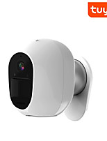 cheap -Tuya WIFI White Security Camera Solar Charge 1080P Home Surveillance Support Night Vision PIR Motion Detection
