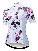 cheap -21Grams Women's Short Sleeve Cycling Jersey Summer Spandex Polyester White Floral Botanical Bike Jersey Top Mountain Bike MTB Road Bike Cycling Quick Dry Moisture Wicking Breathable Sports Clothing