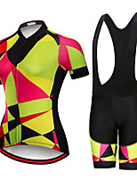 cheap -Women's Short Sleeve Cycling Jersey with Shorts Summer Spandex Black / Yellow Black Bike Quick Dry Breathable Sports Geometric Mountain Bike MTB Road Bike Cycling Clothing Apparel / Stretchy
