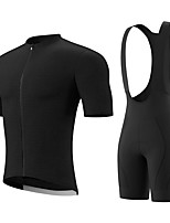 cheap -Men's Short Sleeve Cycling Jersey with Bib Shorts Summer Spandex Black Solid Color Bike Quick Dry Breathable Sports Solid Color Mountain Bike MTB Road Bike Cycling Clothing Apparel / Stretchy