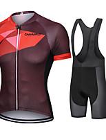 cheap -CAWANFLY Men's Short Sleeve Cycling Jersey with Bib Shorts Cycling Bib Shorts Summer Burgundy Bike Quick Dry Sports Mountain Bike MTB Road Bike Cycling Clothing Apparel