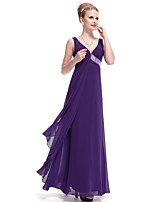 cheap -A-Line Elegant Sexy Wedding Guest Formal Evening Dress V Neck Sleeveless Floor Length Spandex with Sequin 2021