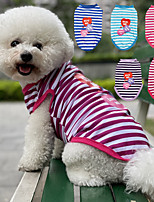 cheap -Dog Cat Shirt / T-Shirt Vest Dog clothes Stripes Heart Letter & Number Classic Stripes Casual / Daily Outdoor Dog Clothes Puppy Clothes Dog Outfits Breathable Purple Red Rose Costume for Girl and Boy