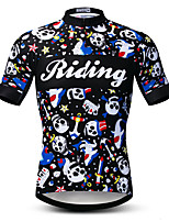 cheap -21Grams Men's Short Sleeve Cycling Jersey Summer Spandex Polyester Black Sugar Skull Skull Bike Jersey Top Mountain Bike MTB Road Bike Cycling Quick Dry Moisture Wicking Breathable Sports Clothing