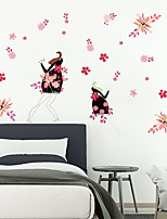 cheap -Floral Plants Wall Stickers Study Room Bedroom Removable Pre-pasted PVC Home Decoration Wall Decal 1pc