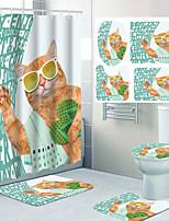 cheap -Cute Cat Pattern Printing Bathroom Shower Curtain Leisure Toilet Four-piece Design 72 Inch