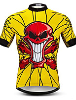 cheap -21Grams Men's Short Sleeve Cycling Jersey Summer Spandex Polyester Yellow Sugar Skull Skull Bike Jersey Top Mountain Bike MTB Road Bike Cycling Quick Dry Moisture Wicking Breathable Sports Clothing