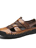 cheap -Men's Sandals Crochet Leather Shoes Flat Sandals Casual Beach Roman Shoes Daily Outdoor Trail Running Shoes Nappa Leather Cowhide Breathable Handmade Non-slipping Booties / Ankle Boots Black Brown