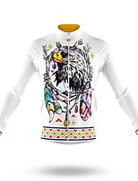 cheap -21Grams Men's Long Sleeve Cycling Jersey Spandex Polyester White Bike Jersey Top Mountain Bike MTB Road Bike Cycling Quick Dry Moisture Wicking Breathable Sports Clothing Apparel / Athleisure
