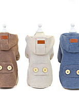 cheap -Dog Cat Coat Solid Colored Patterned Leisure British Dailywear Casual / Daily Winter Dog Clothes Puppy Clothes Dog Outfits Warm Blue Brown Beige Costume for Girl and Boy Dog Padded Fabric S M L XL XXL