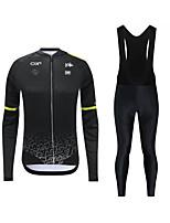 cheap -CAWANFLY Men's Long Sleeve Cycling Jersey with Tights Cycling Pants Cycling Bib Tights Spandex Black / Yellow Black Bike Breathable Sports Geometic Mountain Bike MTB Road Bike Cycling Clothing Apparel