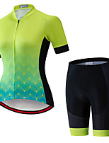 cheap -Women's Short Sleeve Cycling Jersey with Shorts Summer Spandex Black Green Gradient Bike Quick Dry Breathable Sports Gradient Mountain Bike MTB Road Bike Cycling Clothing Apparel / Stretchy