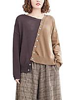 cheap -ellazhu women loose asymmetric hem button long sleeve fall pullover sweater ga2159 brown