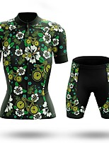 cheap -Women's Short Sleeve Cycling Jersey with Shorts Summer Spandex Green Floral Botanical Bike Quick Dry Breathable Sports Floral Botanical Mountain Bike MTB Road Bike Cycling Clothing Apparel / Stretchy