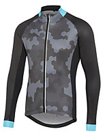 cheap -21Grams Men's Long Sleeve Cycling Jersey Spandex Polyester Grey Patchwork Camo / Camouflage Bike Jersey Top Mountain Bike MTB Road Bike Cycling Quick Dry Moisture Wicking Breathable Sports Clothing
