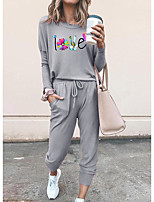 cheap -Women Basic Streetwear Floral Print Vacation Casual / Daily Two Piece Set Tracksuit T shirt Pant Loungewear Drawstring Print Tops