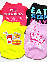 cheap -Dog Cat Shirt / T-Shirt Patterned Letter & Number Funny Cute Halloween Birthday Winter Dog Clothes Puppy Clothes Dog Outfits Breathable Pink / Purple Red+Black Black Costume for Girl and Boy Dog