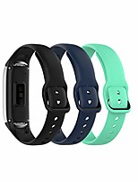cheap -Smart watch band compatible with samsung galaxy fit 2019, fitness band sport metal secure fastener for sm-r370 smartwatch (black-nave-teal)
