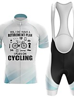 cheap -Men's Short Sleeve Cycling Jersey with Bib Shorts Winter Summer Spandex White Bike Quick Dry Breathable Sports Graphic Mountain Bike MTB Road Bike Cycling Clothing Apparel / Stretchy / Athletic