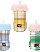 cheap -Dog Cat Dog clothes Plaid / Check Stylish Spots & Checks Dailywear Casual / Daily Winter Dog Clothes Puppy Clothes Dog Outfits Warm Yellow Blue Green Costume for Girl and Boy Dog Cotton S M L XL XXL