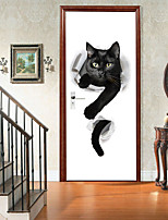 cheap -2pcs Self-adhesive Creative Angry Black Cat Door Stickers For Living Room Diy Decorative Home Waterproof Wall Stickers