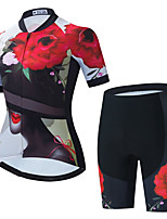 cheap -Women's Short Sleeve Cycling Jersey with Shorts Summer Spandex Black+White Floral Botanical Bike Quick Dry Breathable Sports Floral Botanical Mountain Bike MTB Road Bike Cycling Clothing Apparel