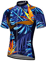 cheap -21Grams Men's Short Sleeve Cycling Jersey Summer Spandex Polyester Blue Tropical Flowers Bike Jersey Top Mountain Bike MTB Road Bike Cycling Quick Dry Moisture Wicking Breathable Sports Clothing