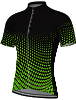 cheap -21Grams Men's Short Sleeve Cycling Jersey Summer Spandex Polyester Green Polka Dot Gradient Bike Jersey Top Mountain Bike MTB Road Bike Cycling Quick Dry Moisture Wicking Breathable Sports Clothing