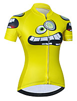 cheap -21Grams Women's Short Sleeve Cycling Jersey Summer Spandex Polyester Yellow Cartoon Bike Jersey Top Mountain Bike MTB Road Bike Cycling Quick Dry Moisture Wicking Breathable Sports Clothing Apparel