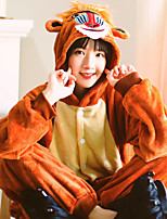 cheap -Adults' Highschool Kigurumi Pajamas Nightwear Monkey Onesie Pajamas Coral fleece Coffee Cosplay For Men and Women Animal Sleepwear Cartoon Festival / Holiday Costumes