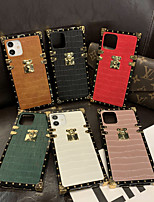 cheap -Luxury Square Phone Case For iPhone 12 Pro Max 11 SE 2020 X XR XS Max 8 7 PU Leather Shockproof Back Cover