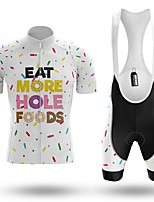 cheap -Men's Short Sleeve Cycling Jersey with Bib Shorts Winter Summer Spandex White Bike Quick Dry Breathable Sports Letter & Number Mountain Bike MTB Road Bike Cycling Clothing Apparel / Stretchy