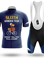cheap -Men's Short Sleeve Cycling Jersey with Bib Shorts Winter Summer Spandex Dark Blue Animal Bike Quick Dry Breathable Sports Letter & Number Mountain Bike MTB Road Bike Cycling Clothing Apparel
