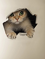 cheap -3D Walls Breaking Effect Hiding Cat Cartoon Home Background Decoration Removable Stickers