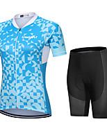 cheap -CAWANFLY Women's Short Sleeve Cycling Padded Shorts Cycling Jersey with Shorts Cycling Shorts Summer Sky Blue Bike Shorts Quick Dry Sports Mountain Bike MTB Road Bike Cycling Clothing Apparel
