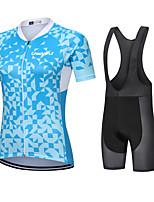 cheap -CAWANFLY Women's Short Sleeve Cycling Jersey with Bib Shorts Cycling Bib Shorts Summer Sky Blue Bike Quick Dry Sports Mountain Bike MTB Road Bike Cycling Clothing Apparel