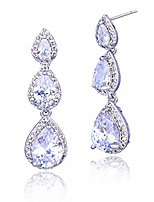 cheap -cubic zirconia bridal earrings silver - elegant sterling silver teardrop cz wedding party prom earrings for bride bridesmaids crystal rhinestone diamond zircon dangle drop earrings for women girls