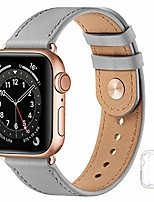 cheap -Smart watch band soft leather bands compatible with apple watch band 38mm 40mm 42mm 44mmreplacement strap for iwatch se series 6 5 4 3 2 1(gray with rose gold, 42mm/44mm)