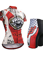 cheap -Women's Short Sleeve Cycling Jersey with Shorts Summer Spandex Polyester Red Skull USA Bike Clothing Suit 3D Pad Quick Dry Breathable Sports Skull Mountain Bike MTB Road Bike Cycling Clothing Apparel