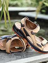 cheap -Men's Sandals Casual Nappa Leather Sand color Brown Spring & Summer