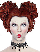cheap -pocus wig hocus red brown curly wig red queen iracebeth cosplay costume accessories makeup